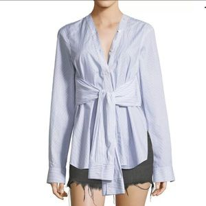 T by Alexander Wang Combo Striped Tie Front Shirt